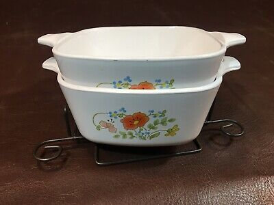 Set of 2 Corning Ware WILDFLOWER Petite Pan Casserole With Lids,P-43-B,2-3/4 cup