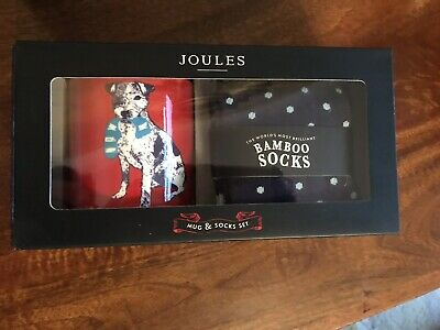 Joules Red Terrier Mug And Mens Socks Giftset Brand New