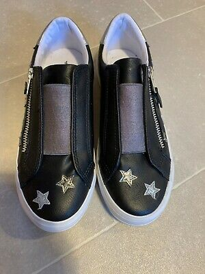 Black Next Girls Shoes Silver Stars/zips Size 4
