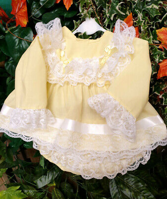 DREAM 0-5 YEARS BABY GIRLs LEMON SPANISH  TOP AND FRILLY BUM PANTS SET OR REBORN