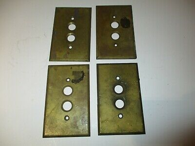 (4)Reclaimed Vintage Brass Single Gang Push Button Wall Light Switch Plate Cover