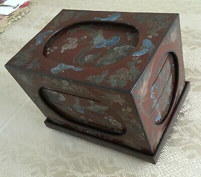 Vintage Chinese lacquer Wedding Box, rectangular, brown, blue birds, handpainted
