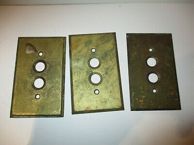 (3)Reclaimed Vintage Brass Single Gang Push Button Wall Light Switch Plate Cover