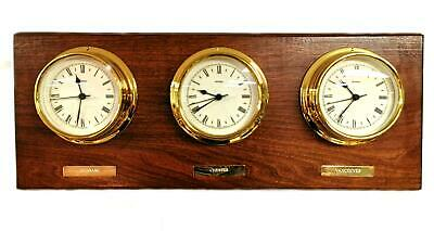 Metamec Triple Time Zone Brass Wall Clock On Oak Plinth In Excellent Condition