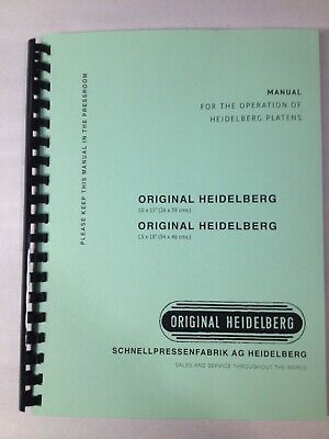 Original Heidelberg Instruction Manual for 10x15 & 13x18 Windmill Platen Press