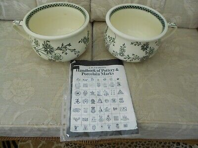 Antique Chamber Pots A Matching Pair  Excellent Condition  Cream / Green Design