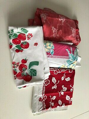 Lot of 4 VINTAGE TABLECLOTHS, PRINTED, CUTTERS, Florals, ROSES STRAWBERRIES ETC