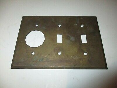 Antique double gang Solid Brass toggle Light Switch Cover Plate w/ outlet Rare