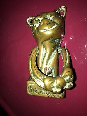 Cheshire Cat Antique Brass Door Knocker Alice In Wonderland British Empire Ware