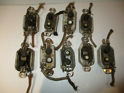 Lot 9 Vintage Antique Porcelain Push Button Light Switches Mother Of Pearl