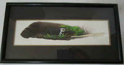 Vintage 1994 Hand Painted Folk Art Feather Signed Carmen Costa Rica