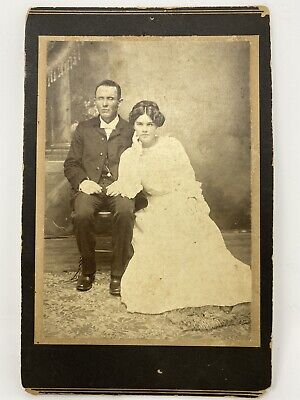Antique Cabinet Card Photo of A Somber Couple With Unusual Eyes Identified