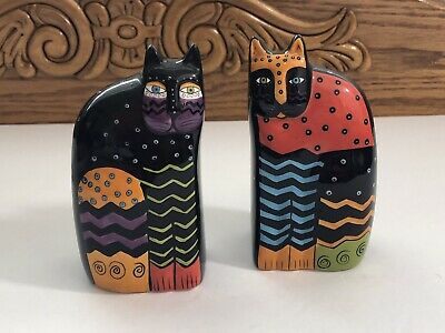 Laurel Burch Multi-Color Cat Salt & Pepper Shakers Set By Ganz Black Ceramic
