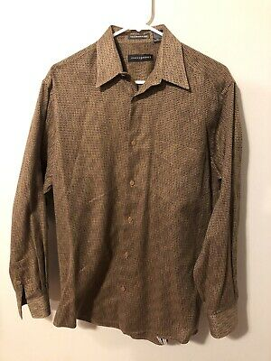 Jhane Barnes Mens Small Gold/Brown Waved Pattern Shirt Woven Cotton