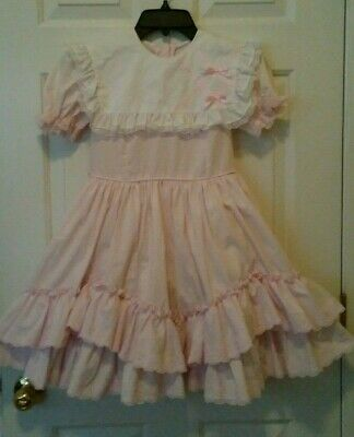 GOLDEN AGE California Vintage Light Pink Girls Circle Party Ruffle Dress Size 8