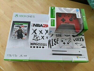 New Sealed Microsoft Xbox One S 1TB NBA 2k19 + Extra Cont Console Bundle White