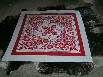 """1940's Floral Screen Print RED  WHITE French Country Cotton Tablecloth 48"""" x 51"""""""