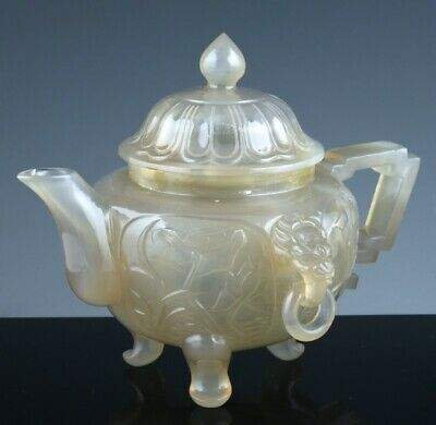 Fine Old Chinese Mughal Design Carved Chalcedony Agate Dragon Wine Pot Teapot