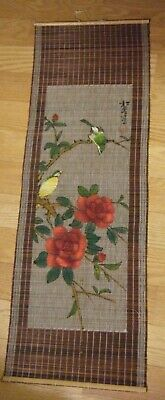 Vintage Chinese Bamboo Woven Wall Hanging Scroll Birds Hand Painted Signed