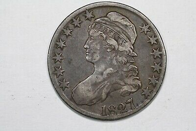 1827 Capped Bust Half Dollar, Square Base 2, O-119 R3 Choice Fine