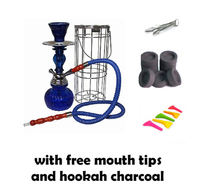 """1 Hose METAL CAGE 11"""" Hookah Nargila Glass Water Pipe Set W/ Charcoal Mouth Tips"""