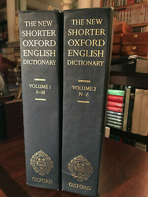 The New Shorter Oxford English Dictionary on Historical Principles 2 Vol HB 1993