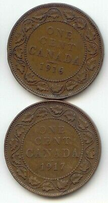 Canada 1916 & 1917 1 Cent Coin Canadian Large Penny 1c EXACT COIN SHOWN