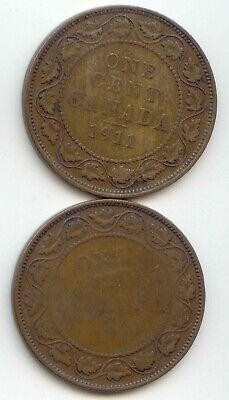 Canada 1911 & 1912 1 Cent Coin Canadian Large Penny 1c EXACT COIN SHOWN