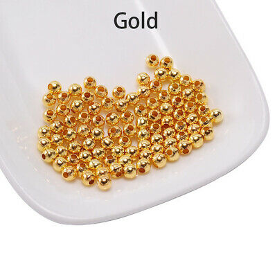 500pcs Gold Round Spacer Beads Smooth Ball End Seed Bead For Jewelry Making