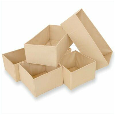 5-piece Beige Polyester/Polypropylene Easy-to-Use Storage Bin Drawer Organizers