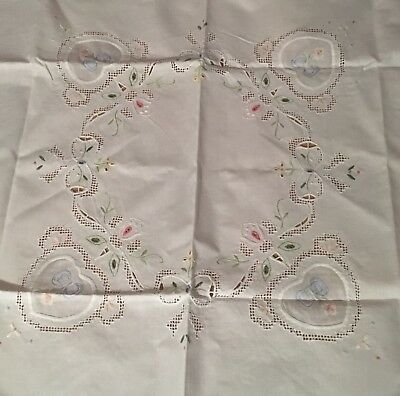 """NWT! 100% Cotton Hand Embroidered Tablecloth Pink/Blue Flowers & Hearts, 36""""sq"""