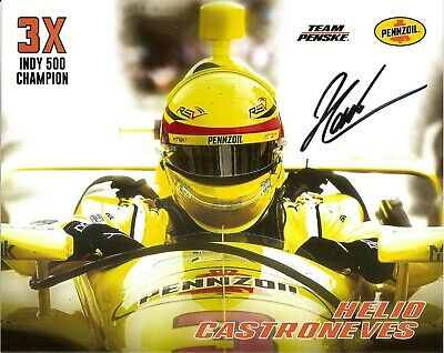 2019 HELIO CASTRONEVES signed INDIANAPOLIS 500 PENNZOIL HERO PHOTO CARD INDY CAR