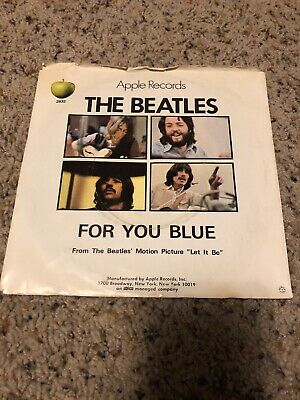 "Apple 45rpm 7"" Vinyl Record The Beatles For You Blue Long And Winding Road 1970"