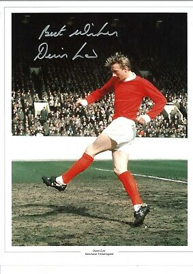 Denis Law Man United Authentic Hand Signed 16 x 12 inch football photo SS508a