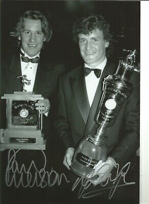 Paul Merson Mark Hughes Man United Authentic Hand Signed football photo SS529