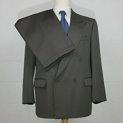 Alan Flusser Double Breasted Olive Green Striped Mens 42R Wool Suit 36x29 Pleats