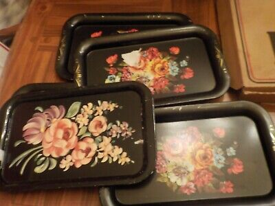 6 Assorted Black With Floral Decorations Serving Metal Trays