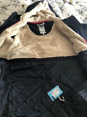 BNWT JOULES Ladies UK 14 Marine Navy Stormbridge Waterproof Parka