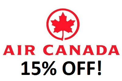 Air Canada Coupon / Discount Code,15% off Base Fare voucher for up to 4. Exp2021