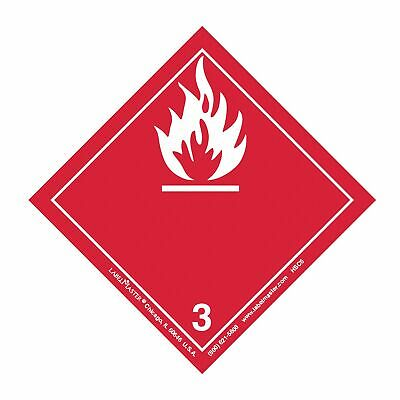 Flammable Liquid Label,  Flammable Liquid International,  Paper,  Red/White,
