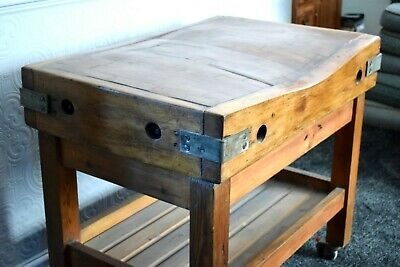 Early 20Th Century Antique Butchers Block/ Table, Stunning Wear And Condition
