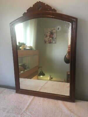 Edwardian Large Mahogany Carved Top Wall Mirror With Original Hanging Points