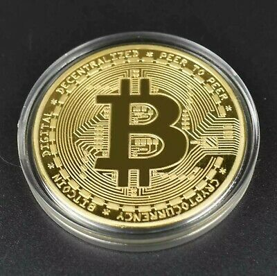 New 2020 Bitcoin Physical Collectible Coin BTC Gold Plated 1 Ounce 40mm UK STOCK