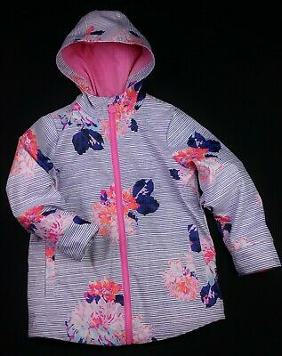 Girls Clothes JOULES Striped/Floral Raincoat Jacket AGE 6 Years 116cm VGC