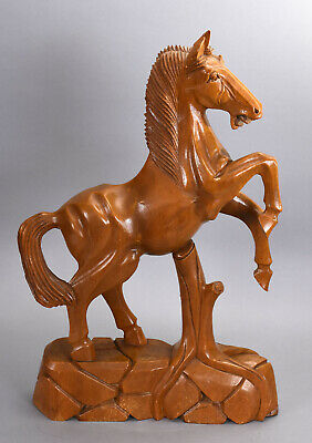 Vintage Hand Carved Wood Rearing Stallion Horse Figure from Farm Estate