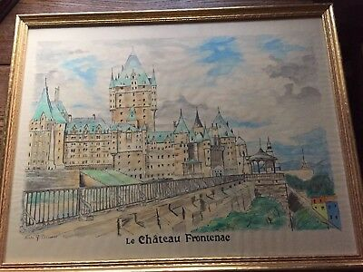 Le Chateau Frontenac Vintage Watercolor
