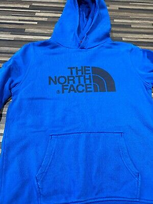 Boys The North Face Blue Hoody Sweatshirt Size L