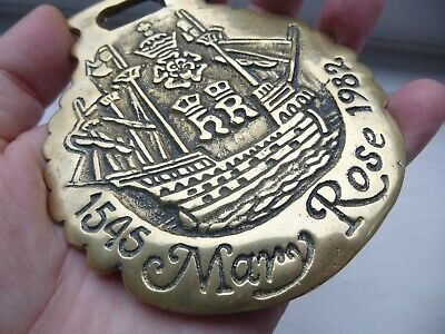 Mary  Rose  1545-1982  Brass  Commerative  Plaque  V  Rare  Collectable