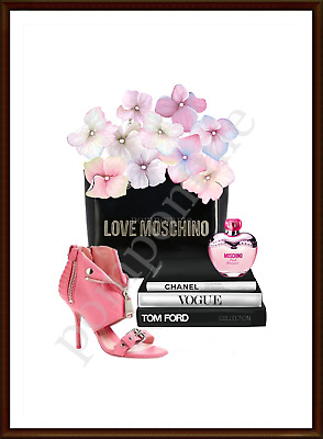 Perfume Shoes Fashion Books Print Wall Art Bedroom Picture Decor Pink Grey A4