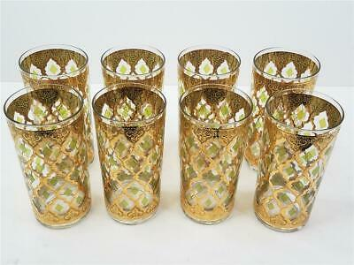 Set/8 Culver Valencia 22K Gold Green Diamond Highball Glasses Tumblers MCM